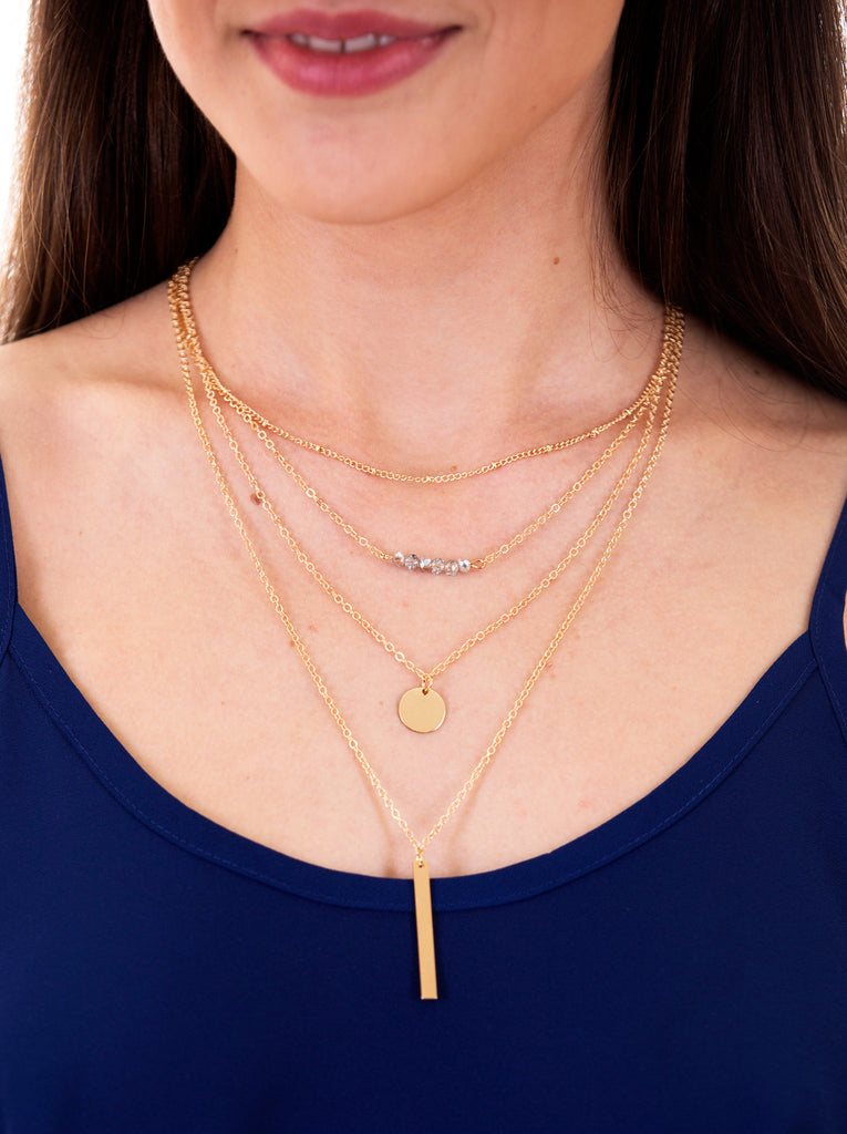 Round Bar Charms Gold Chain Necklace