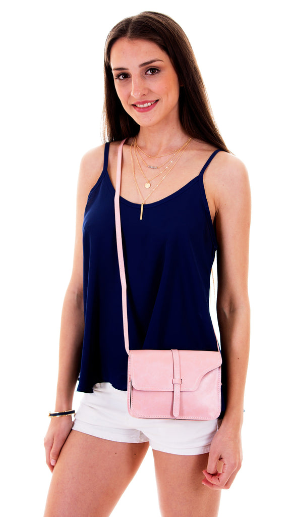 Stylish Faux Leather Crossbody Bag, Pink
