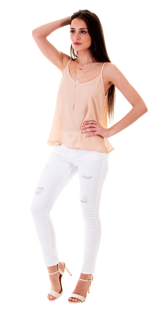 Distressed White Denim Jeans With Ripped Front