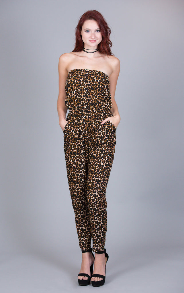 Leopard Print Off Shoulder Jumpsuit