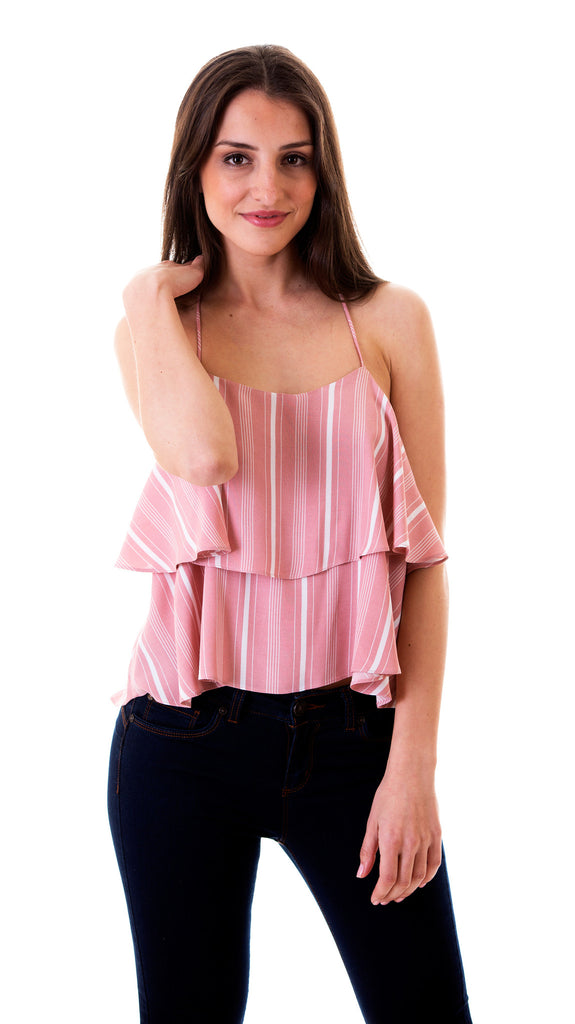 Rose Pink Striped Top