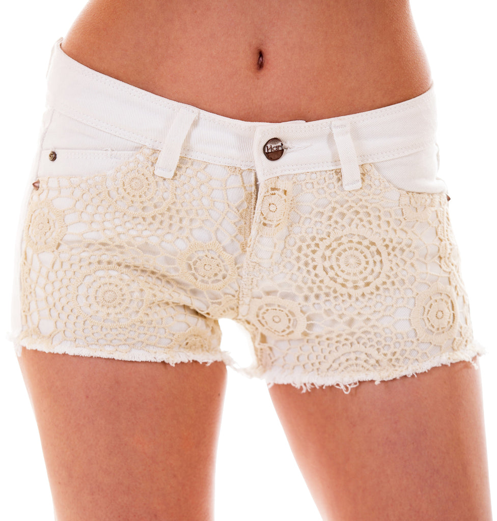 Ivory Low Waist Lace Panel Shorts