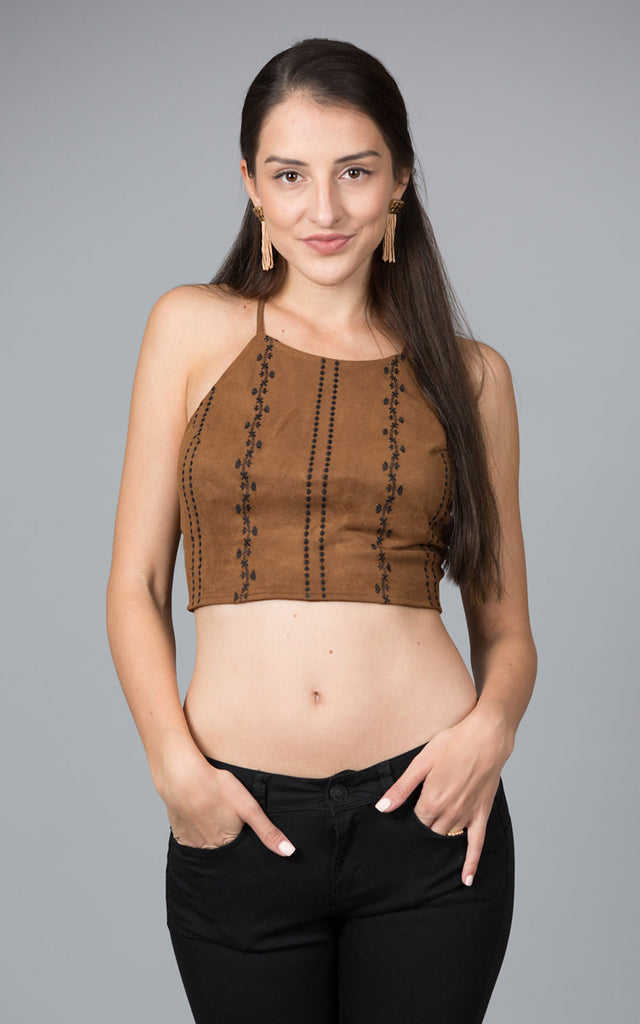 Suede Halter Top With Lace Up Back