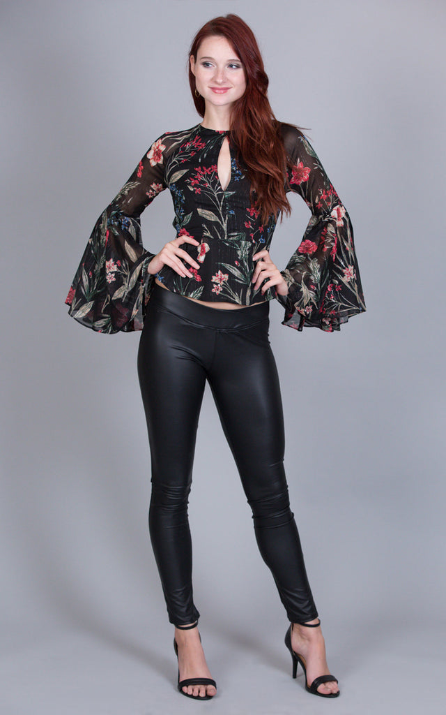 Floral Trumpet Sleeves Blouse