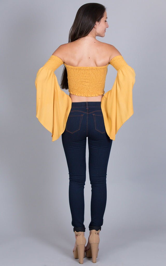 Smocking Crop Top, Mustard