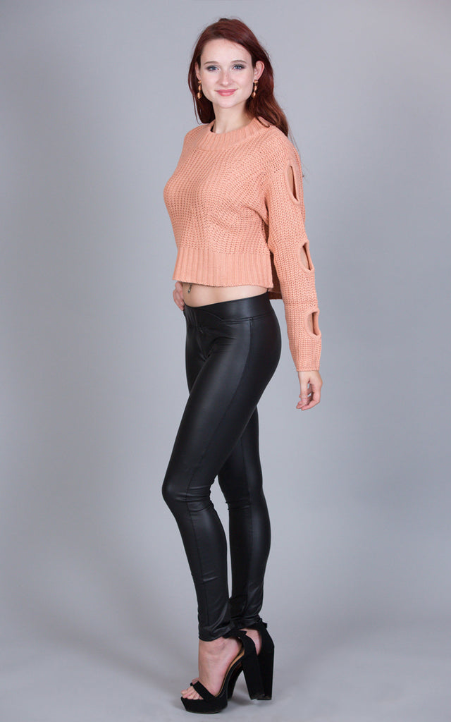 Cropped Crewneck With Slit Sleeves, Salmon
