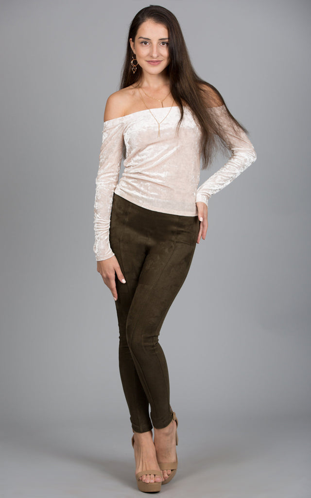 Faux Suede Skinny Pants, Olive