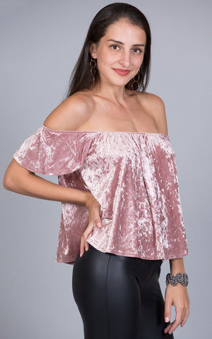 Smooth Velvet Crop Top, Lavender