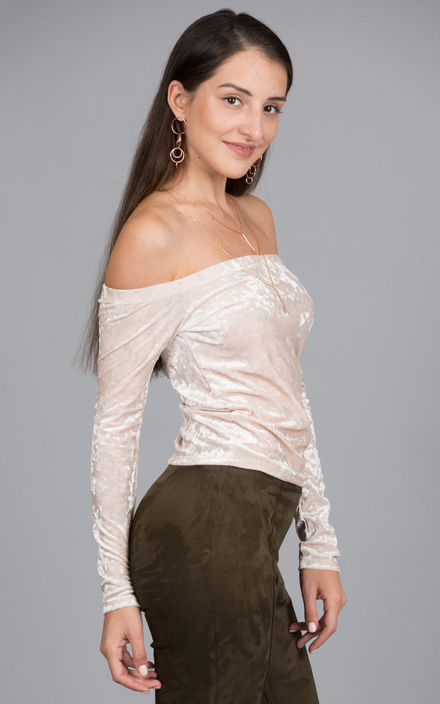 Off Shoulder Ice Velvet Top, Cream