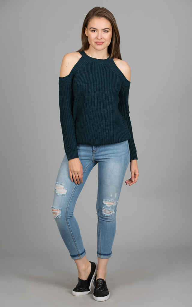 Cold Shoulder Marled Knit Sweater, Dark Teal