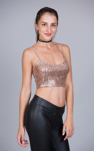 Sequined Camisole Crop Top, Black