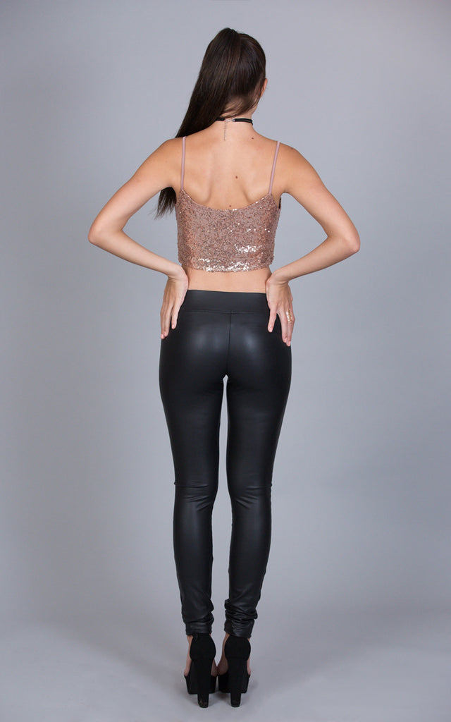 Sequined Camisole Crop Top, Champagne
