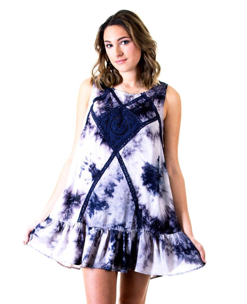 Tie Dye Dress with Lace Details, Navy