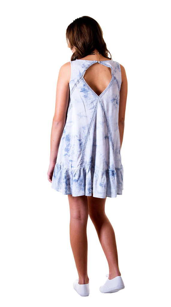 Tie Dye Dress with Lace Details, Sky