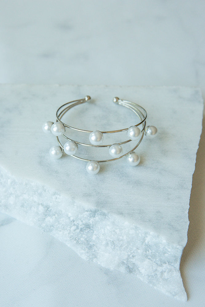 Three Layer Wire Cuff Bracelet, Silver