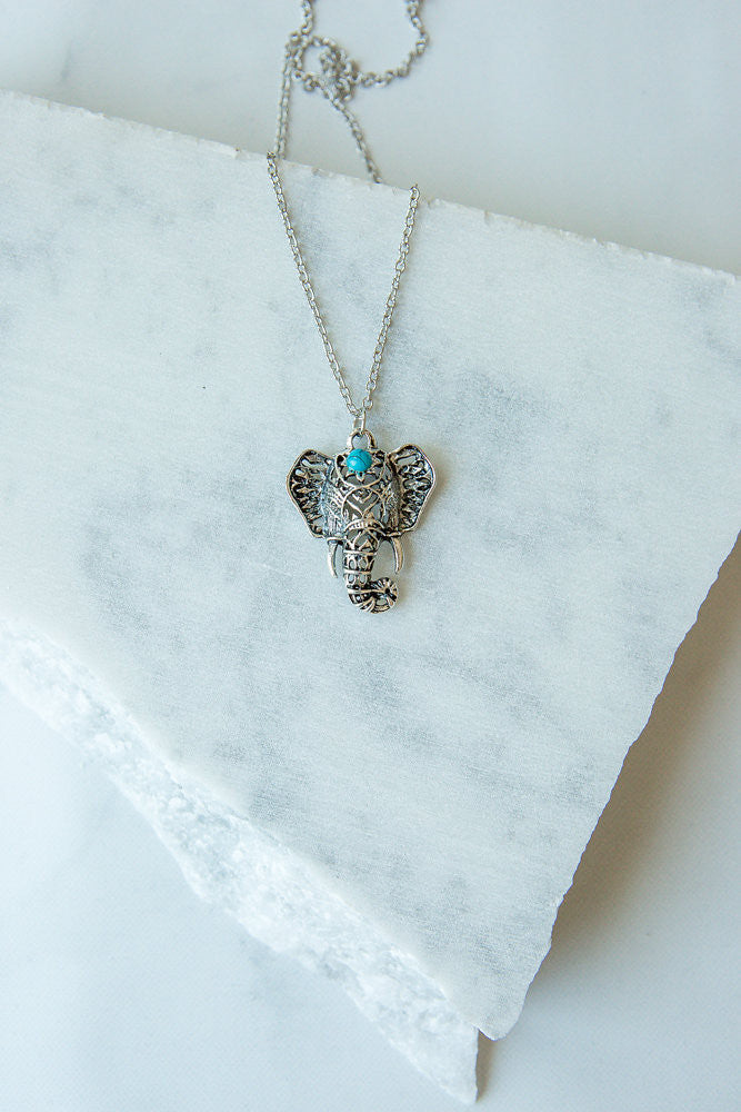 Lucky Elephant Turquoise Necklace
