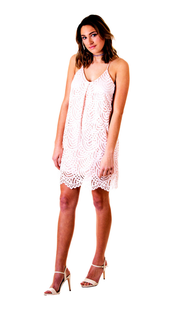 Lace Detail Blush Cutout Dress