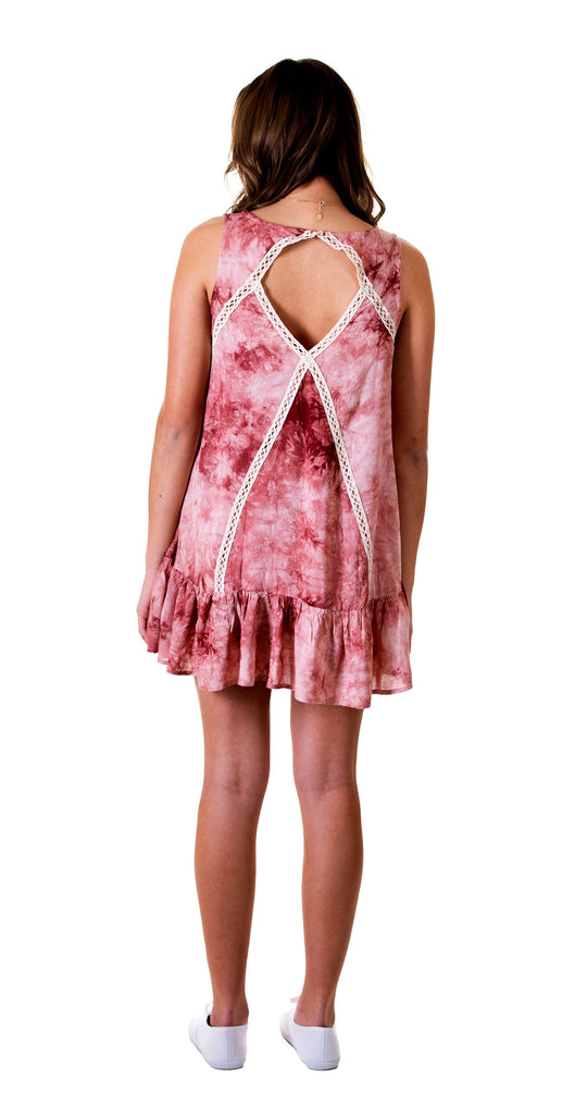 Blush Tie Dye Dress with Lace Details