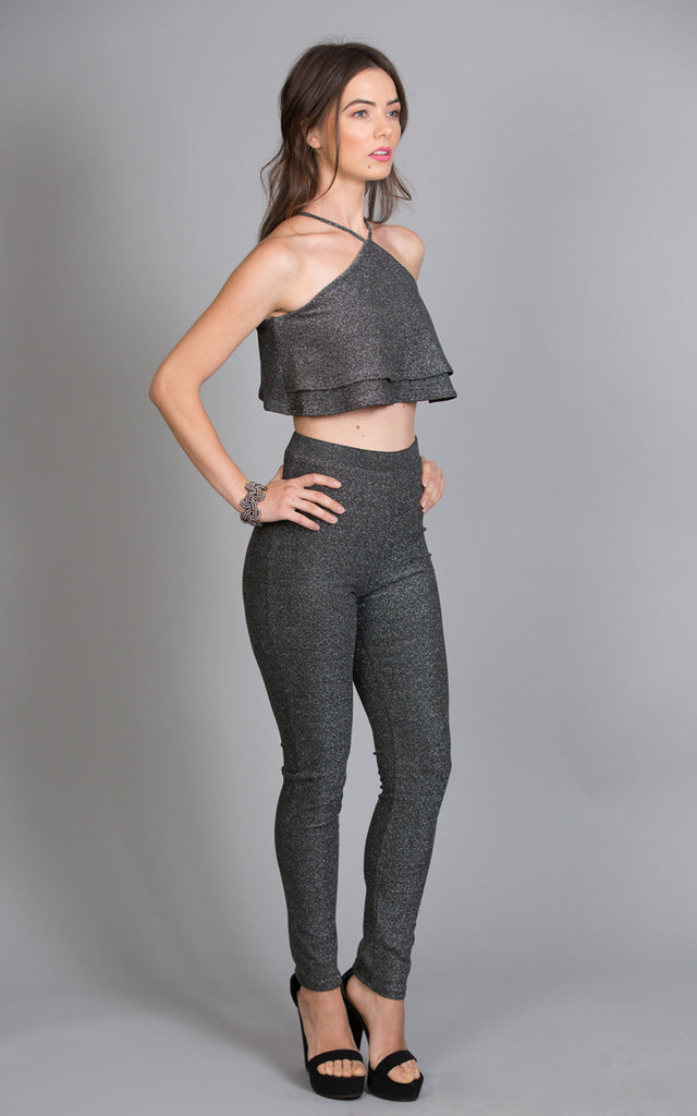 Glitter Halter Neck Top & Leggings Set