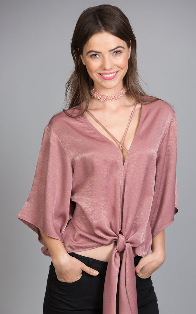 Kimono Sleeve Satin Top, Dusty Rose