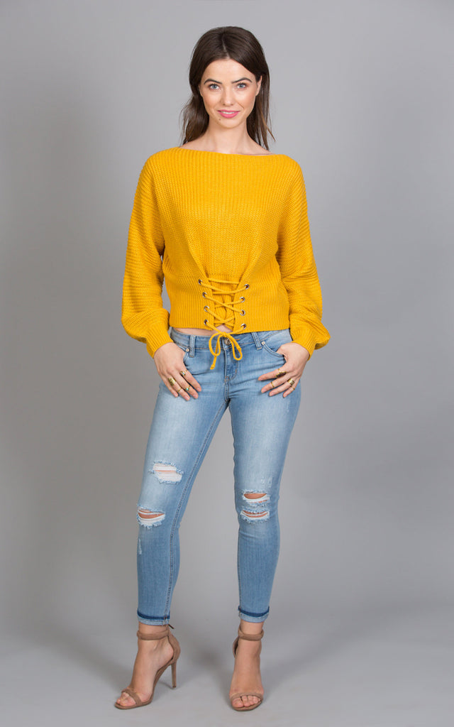 Waist Front Lace Up Sweater, Mustard