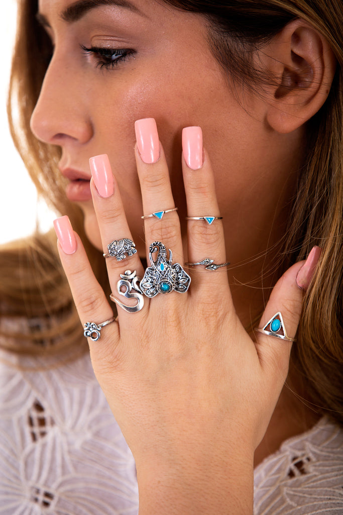 Elephant 8 Piece Turquoise Ring Set, Silver