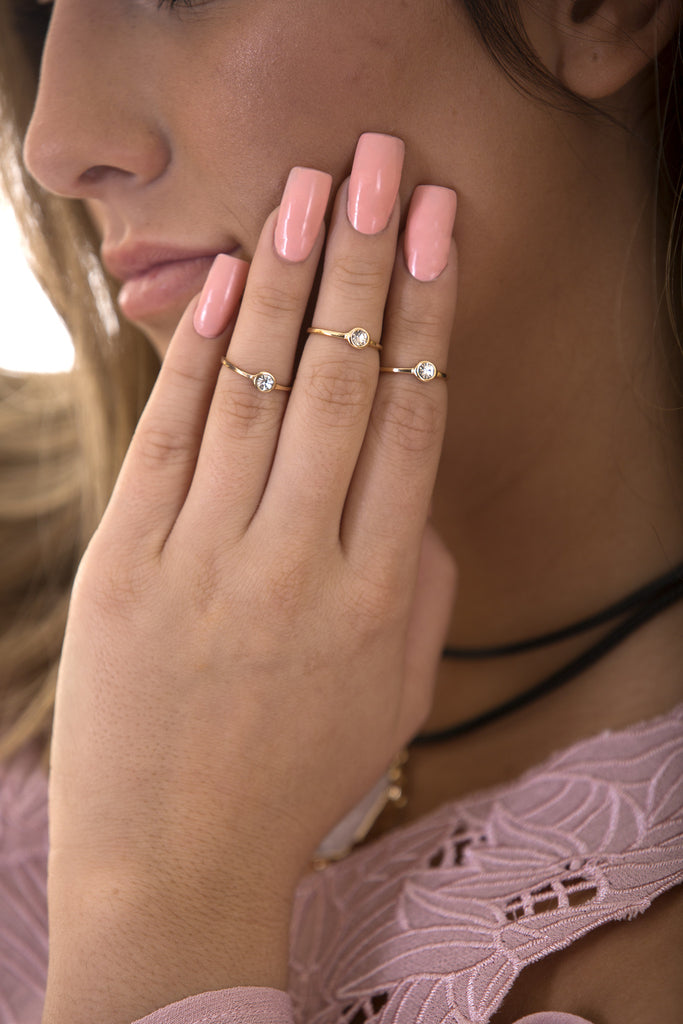 Crystal Stone Knuckle Ring, Gold