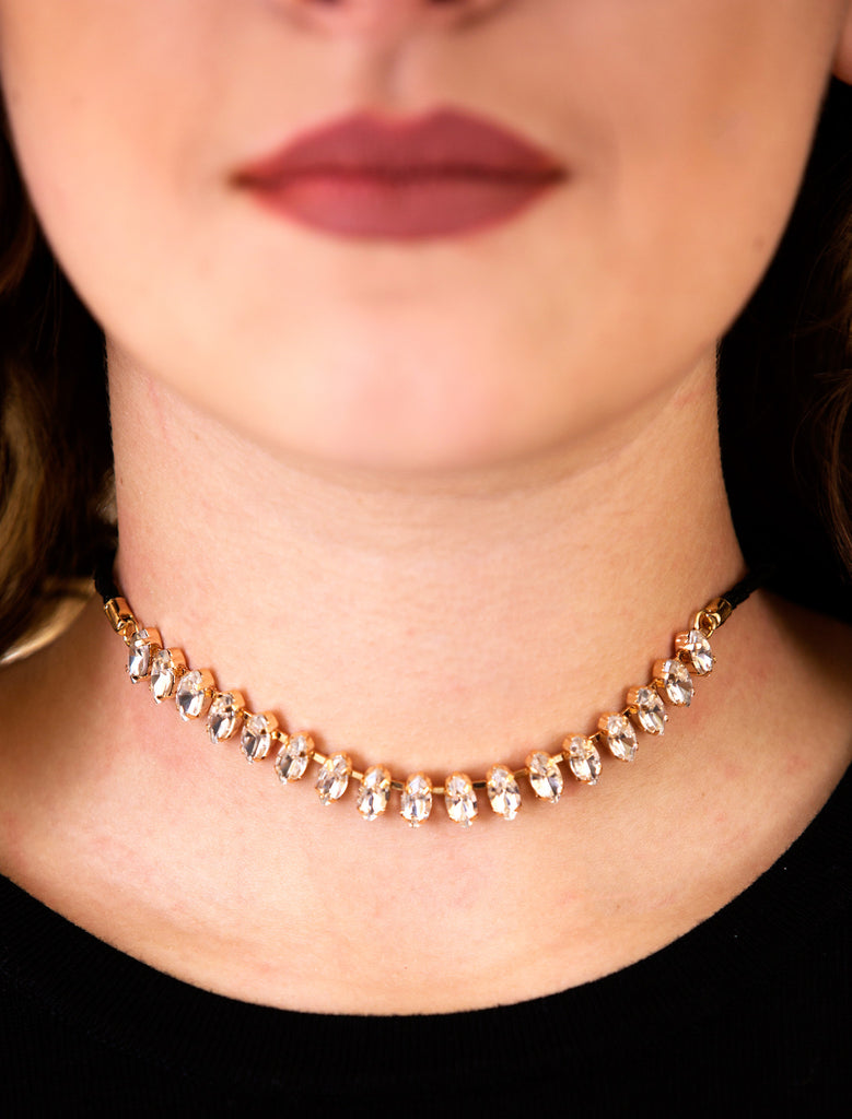 Marquis Cut Glass Stone Choker, Clear