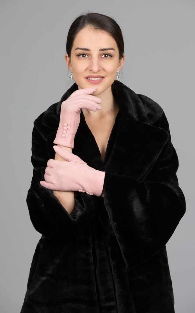 Faux Suede Touch Screen Gloves, Pink