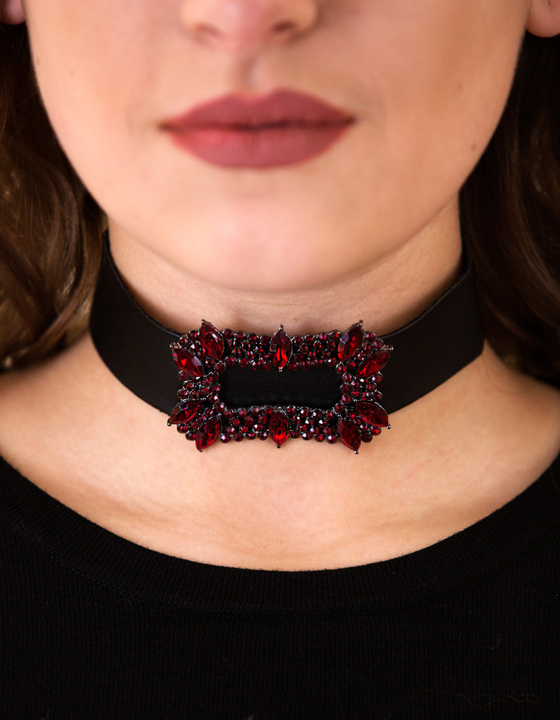 Crystal & Leather Choker Necklace, Burgundy