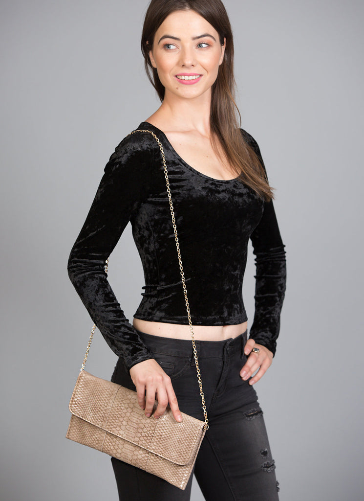 Trendy Crocodile Clutch With Chain, Natural
