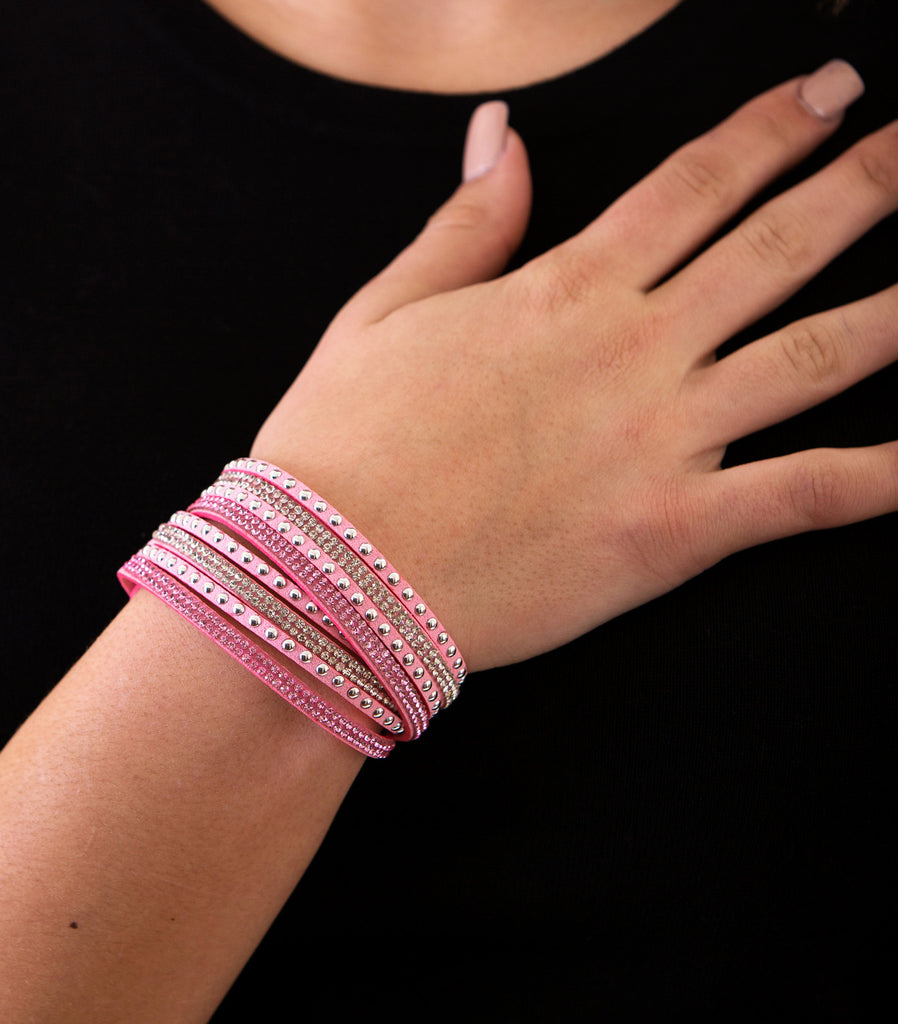 Leather Layered Crystal Rhinestone Bracelet, Pink