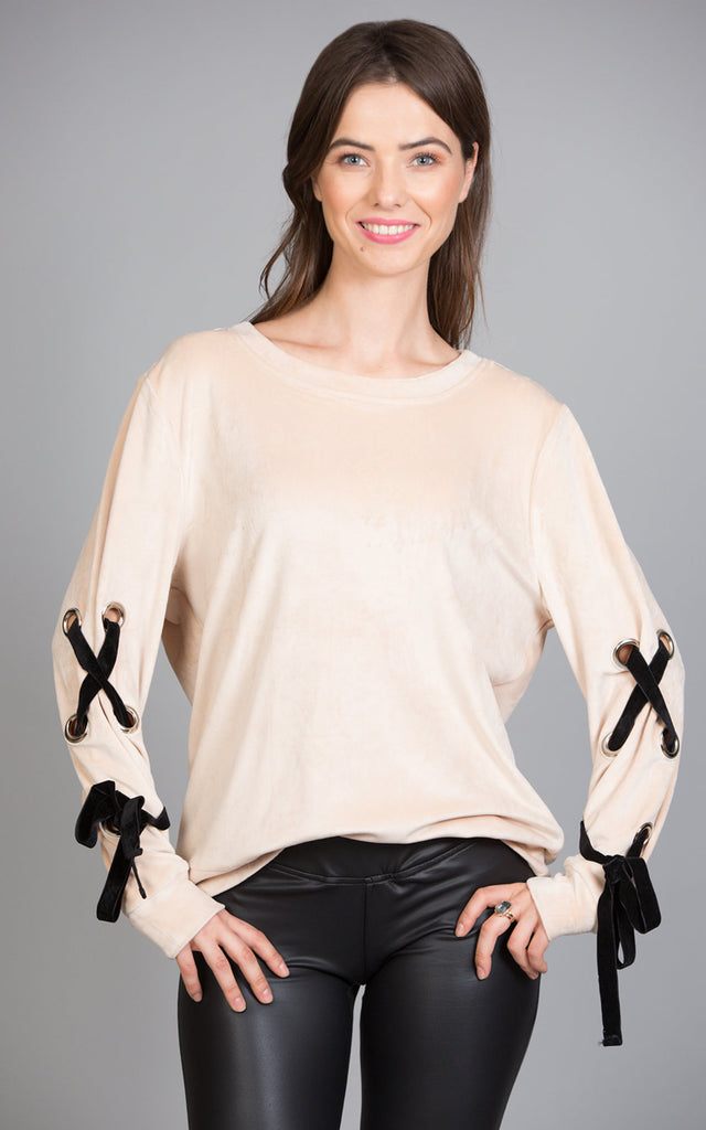 Velour Top With Tied Sleeves