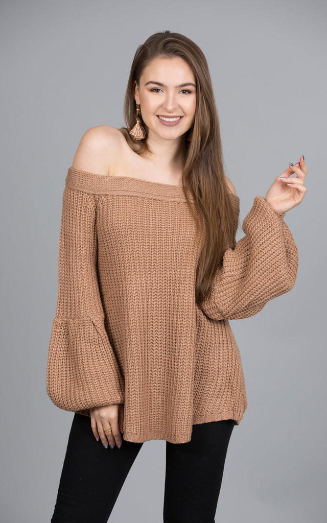Balloon Sleeve Sweater Top, Taupe