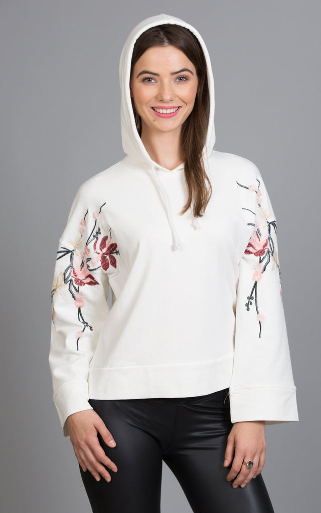 French Terry Hoody With Embroidery
