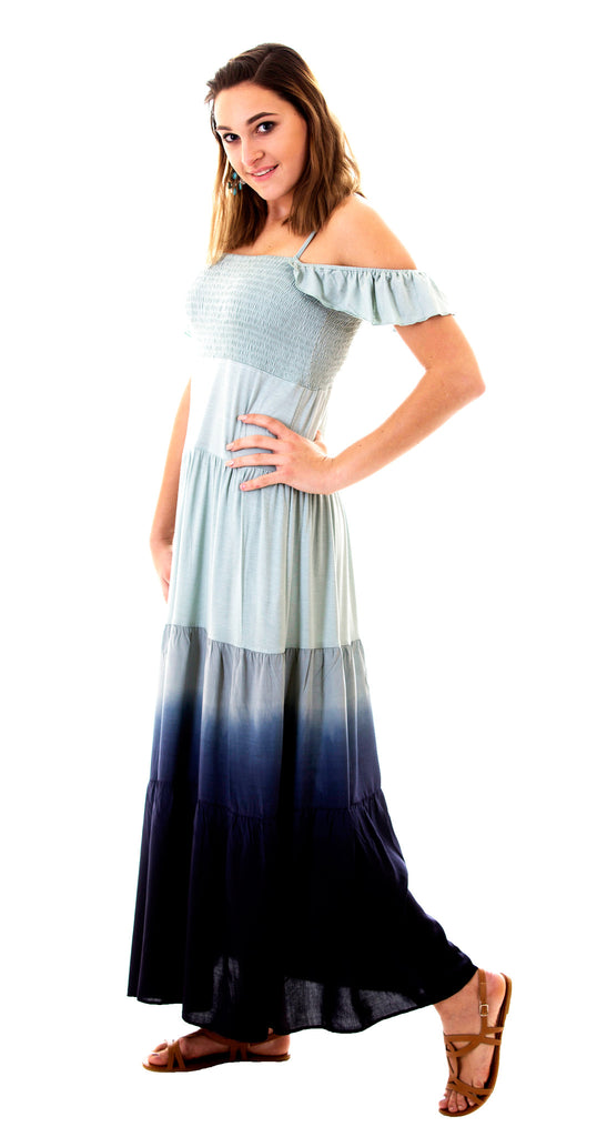 Ombre Maxi Dress with Flutter Sleeves