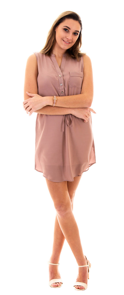 Sleeveless Drawstring Shirt Dress, Taupe