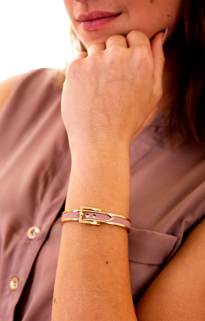 Belt Design Bangle Bracelet, Mauve