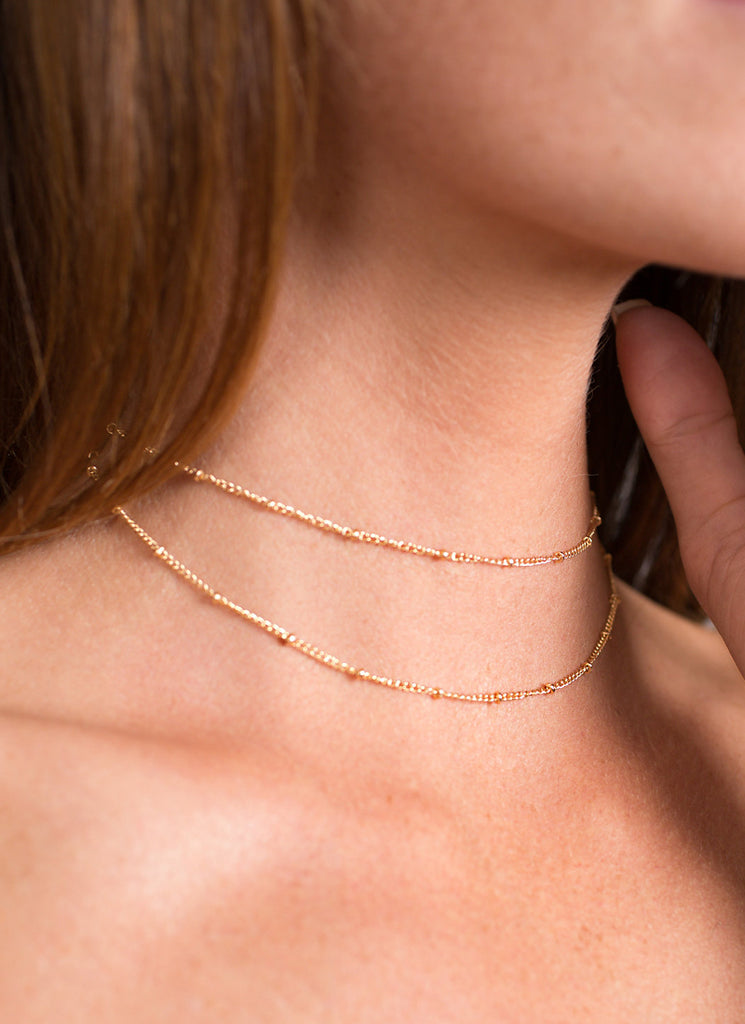 Double Wrap Choker Chain Necklace, Gold