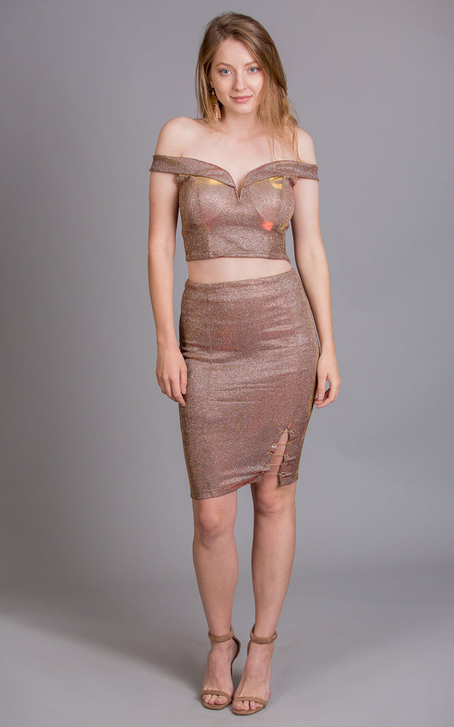 Holographic Top & Skirt Set, Bronze