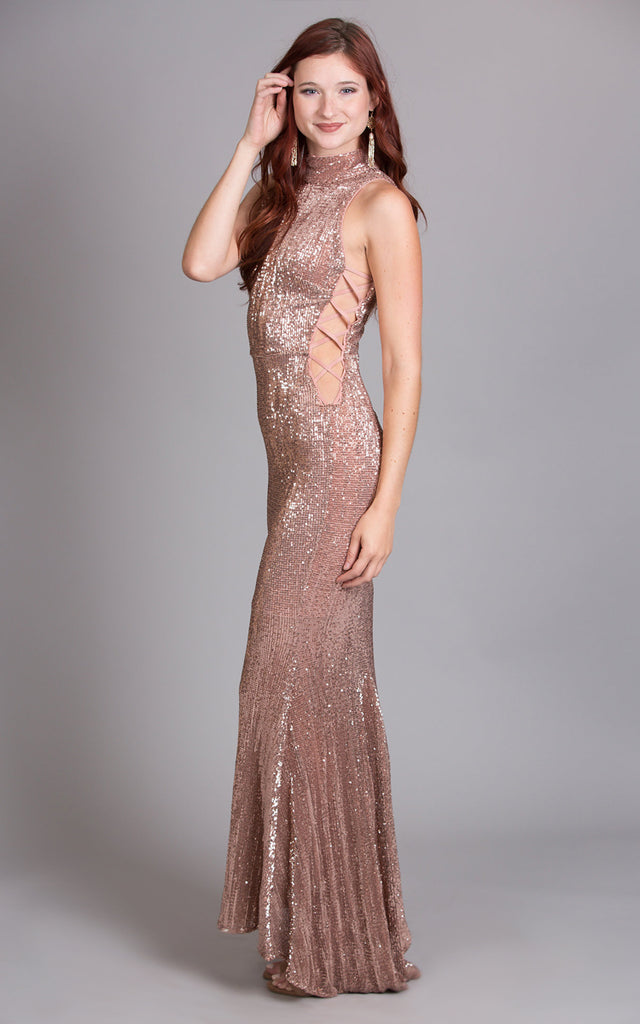 Rose Gold Bodycon Maxi Dress