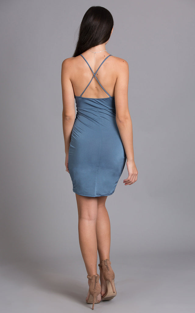 Pearl Satin Front Twisted Dress, Blue