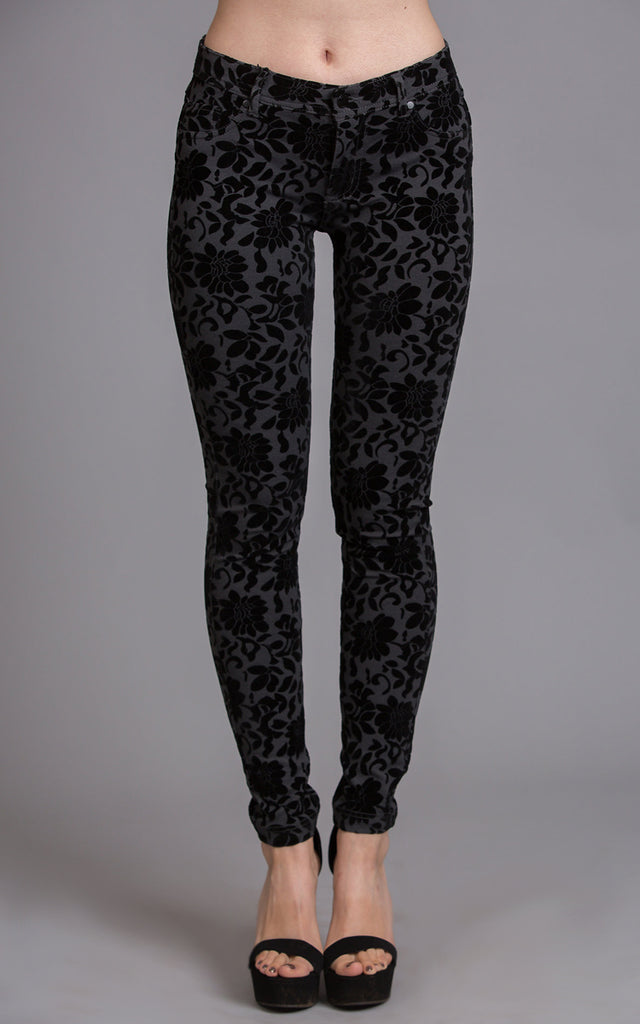Flower Pattern Flocked Pants