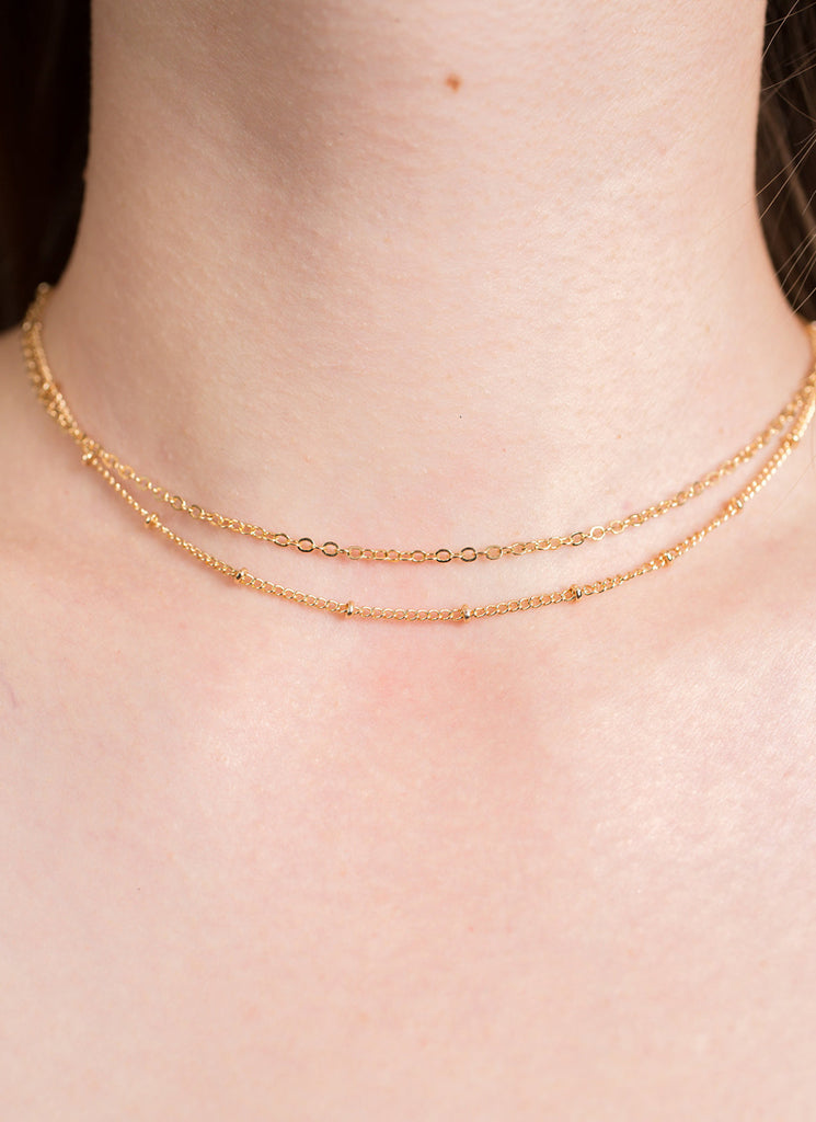 Gold Chain Layered Choker Necklace Set