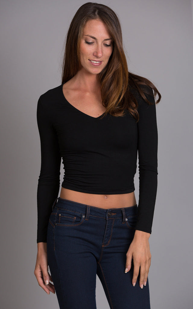 Solid Midriff Top, Black