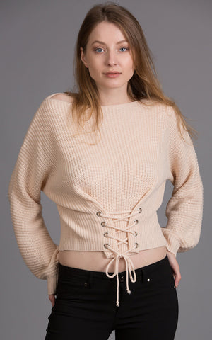 Rib Knit Off Shoulder Top, Ivory