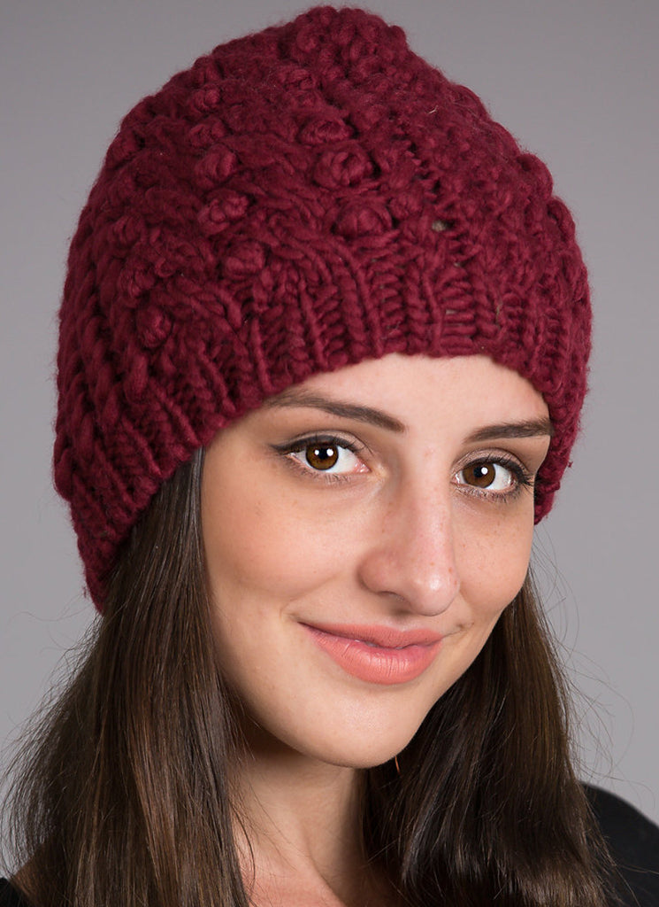 Braided Marled Beanie, Burgundy