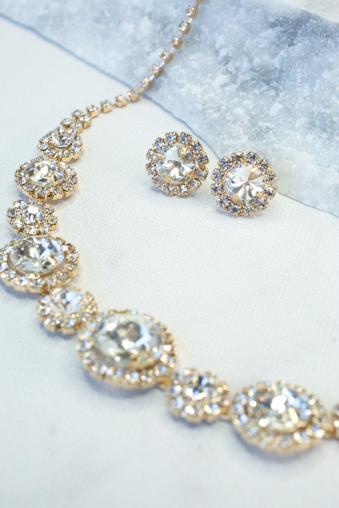Crystal Choker & Earrings Set