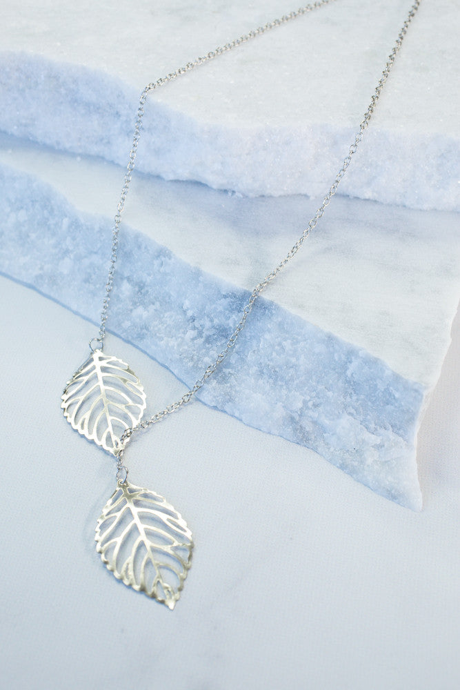 2 Leaf Chain Necklace, Silver