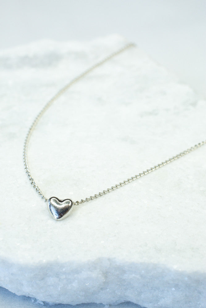 Puffed Heart Necklace, Silver